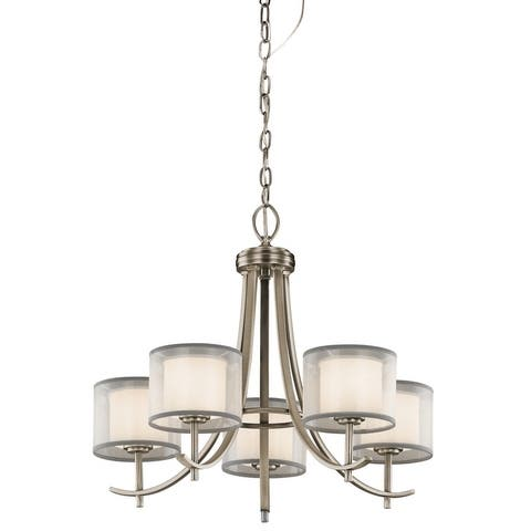 Strick & Bolton Pippin 5-light Antique Pewter Chandelier