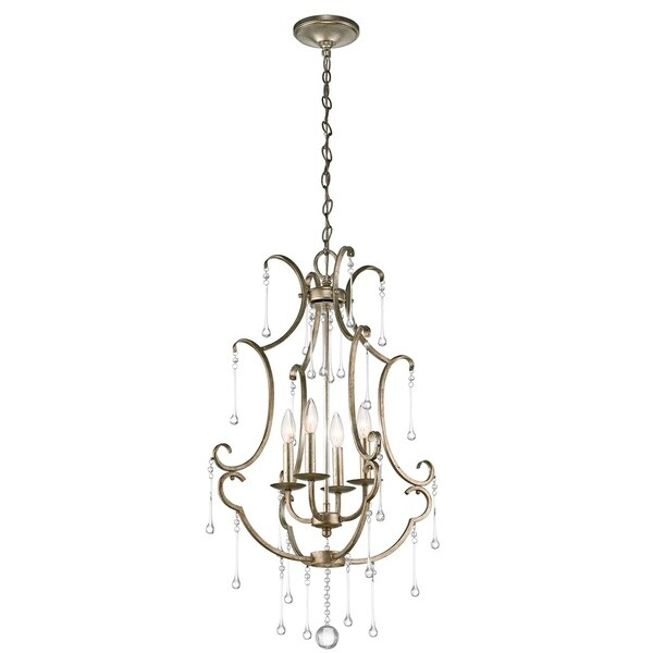 Kichler Lighting Shelsley Collection 4-light Sterling Gold Foyer Chandelier - sterling gold
