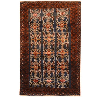 Herat Oriental Afghan Hand-knotted Tribal Balouchi Wool Rug (2'8 x 4'3)