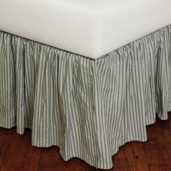 Sky Blue Stripe 18-inch Drop Bed Skirt