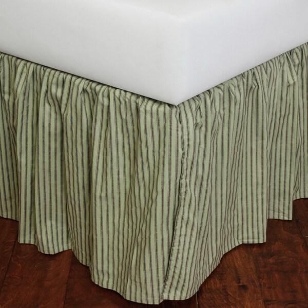 Celedon Green Stripe Bed Skirt