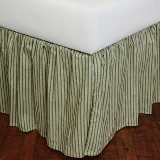 Celedon Green Stripe Bed Skirt