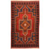 Herat Oriental Afghan Hand-knotted Tribal Balouchi Wool Rug (2'10 x 4'9)