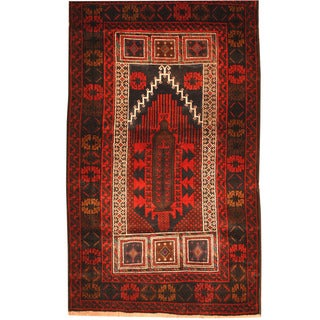 Herat Oriental Afghan Hand-knotted Tribal Balouchi Wool Rug (3'1 x 5'4)