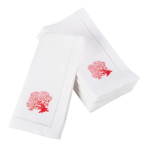 Embroidered Coral Hemstitched Cotton Napkin (Set of 6)