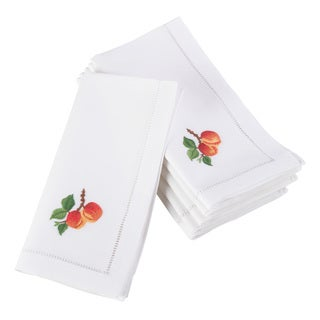 Embroidered Peach Design Hemstitched Border Cotton Napkin - Set of 6