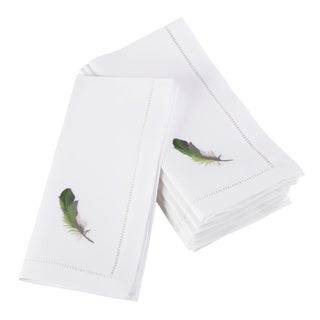 Embroidered Green Feather Hemstitched Cotton Napkin (Set of 6)