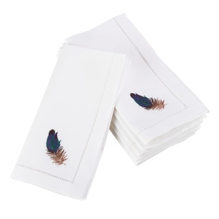 Embroidered Brown Feather Design Hemstitched Border Cotton Napkin - Set of 6