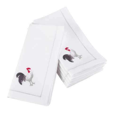 Embroidered Rooster Hemstitched Cotton Napkin (Set of 6)