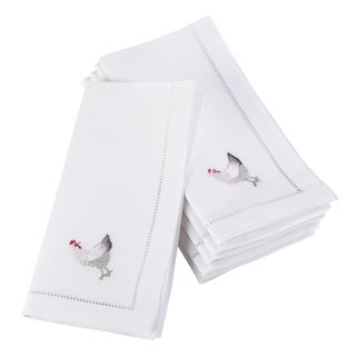 Embroidered French Hen Design Hemstitched Border Cotton Napkin - Set of 6