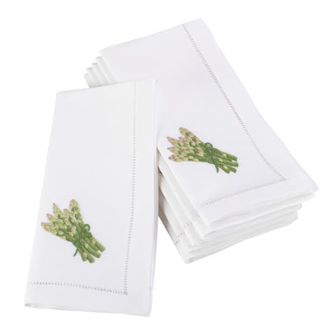 Embroidered Asparagus Hemstitched Cotton Napkin (Set of 6)