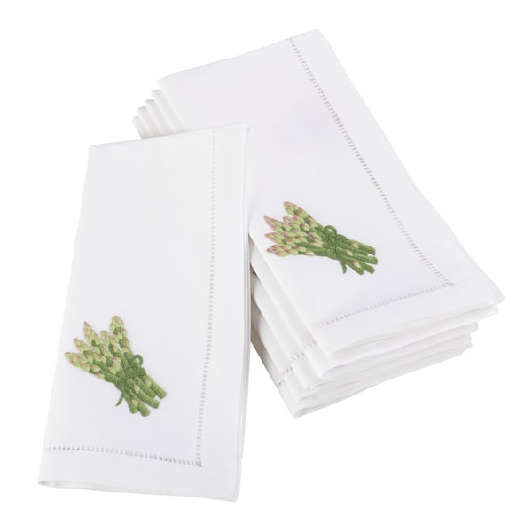 Embroidered Asparagus Hemstitched Cotton Napkin (Set of 6)