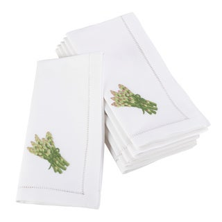 Embroidered Asparagus Design Hemstitched Border Cotton Napkin - Set of 6