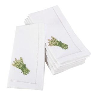 Embroidered Asparagus Design Hemstitched Border Cotton Napkin - Set of 6