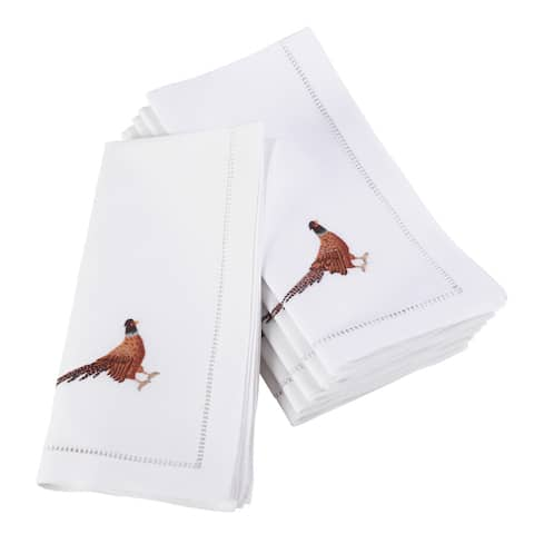Embroidered Pheasant Hemstitched Cotton Napkin (Set of 6)