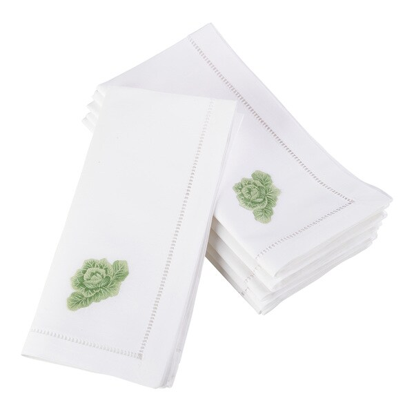 Embroidered Cabbage Design Hemstitched Border Cotton Napkin - Set of 6