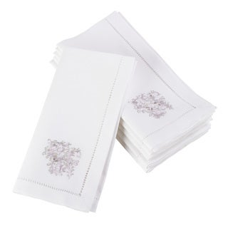 Embroidered Floral Scroll Hemstitched Cotton Napkin (Set of 6)
