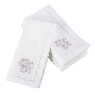Embroidered Vine Design Hemstitched Trim Border Cotton Napkin - Set of 6