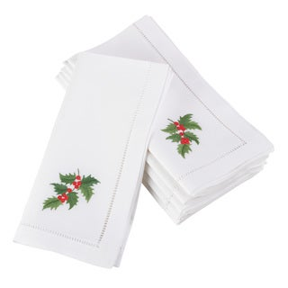 Embroidered Holly Leaf Christmas Holiday Hemstitched Border Cotton Napkin - Set of 6