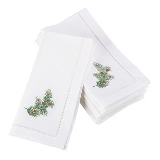 Embroidered Pine Leaf Christmas Holiday Hemstitched Border Cotton Napkin - Set of 6