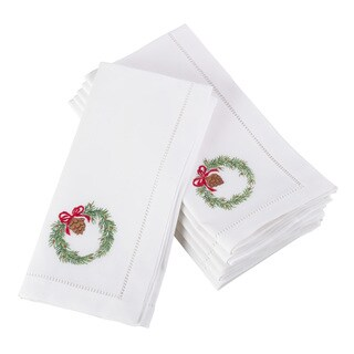 Embroidered Wreath Christmas Holiday Hemstitched Border Cotton Napkin - Set of 6
