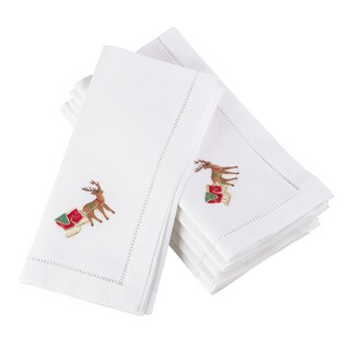 Embroidered Reindeer Christmas Holiday Hemstitched Border Cotton Napkin - Set of 6