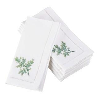 Embroidered Dill Design Hemstitched Border Cotton Napkin - Set of 6