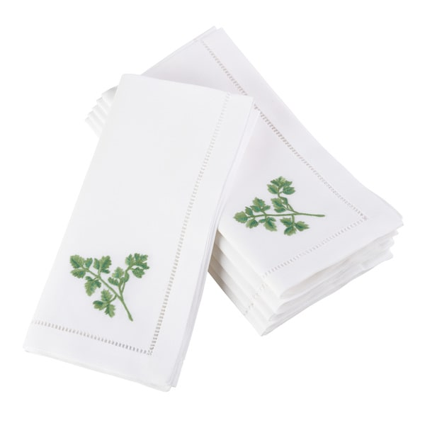 Parsley Embroidered and Hemstitched Cotton Napkin (Set of 6)