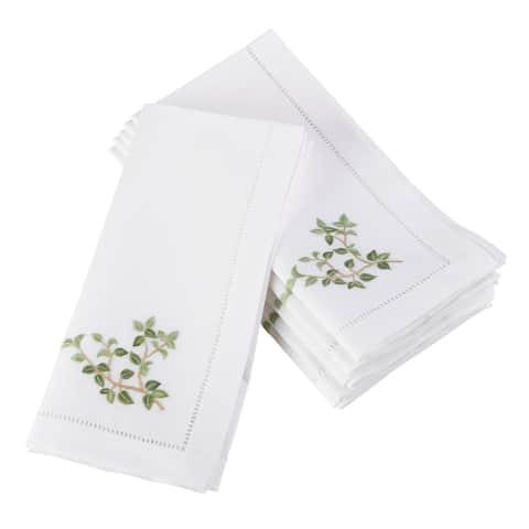 Oregano Embroidered amd Hemstitched Cotton Napkin (Set of 6)
