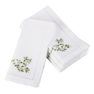 Oregano Embroidered amd Hemstitched Cotton Napkin (Set of 6)