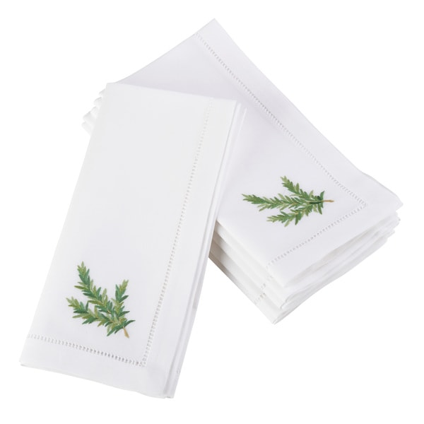 Rosemary Embroidered and Hemstitched Cotton Napkin (Set of 6)