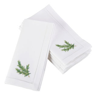 Embroidered Rosemary Design Hemstitched Border Cotton Napkin - Set of 6