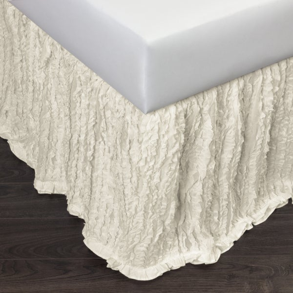 Lizzy Ruffled Ivory 18-inch Drop Bed Skirt