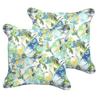 Perryn Green/ Blue Floral Indoor/ Outdoor Square Corded Pillow Set