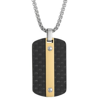 Stainless Steel Carbon Fiber Tag Pendant Necklace with Goldtone Ip
