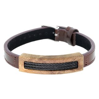 Brown Leather Bracelet with Wood and Cable Inlay