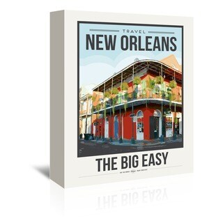 Americanflat 'Travel Poster New Orleans' Gallery Wrapped Canvas - Red/Yellow/Blue