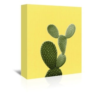 'Cactus on Yellow' Gallery-wrapped Canvas Wall Art