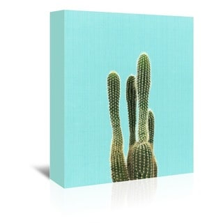American Flat 'Cactus on Blue' Gallery Wrapped Wall Art