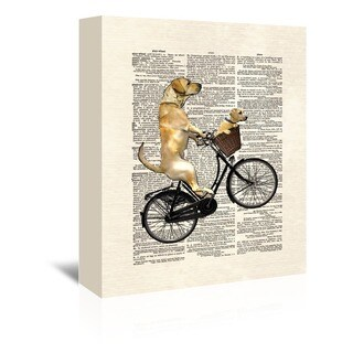 Americanflat 'Labrador Bike' Gallery Wrapped Canvas - White