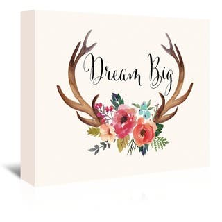 Americanflat 'Dream Big Antlers' Canvas Gallery-wrapped Giclee Wall Art|https://ak1.ostkcdn.com/images/products/15008580/P21506780.jpg?impolicy=medium