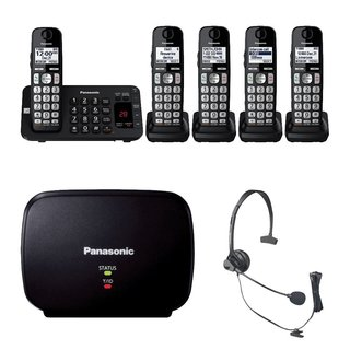 Panasonic KX-TGE445B Cordless Phone with Answering Machine- 5 Handsets Bundle
