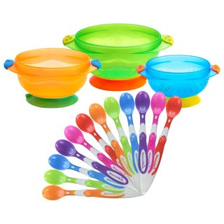Munchkin 3 Count Stay Put Suction Bowls with 12 Pack Soft Tip Infant Spoons