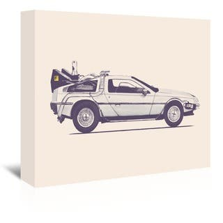 Americanflat Florent Bodart Design 'Delorean - Back To The Future' Gallery-wrapped Canvas Wall Art