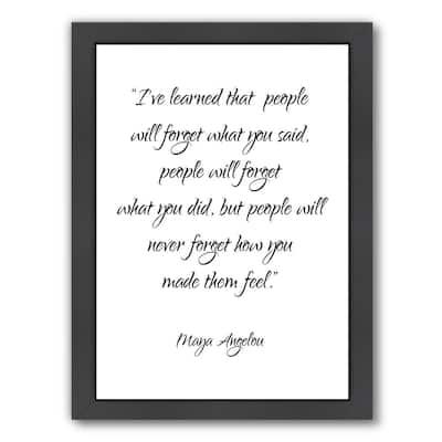 Maya Angelou Inspirational Wood - Framed Print Wall Art