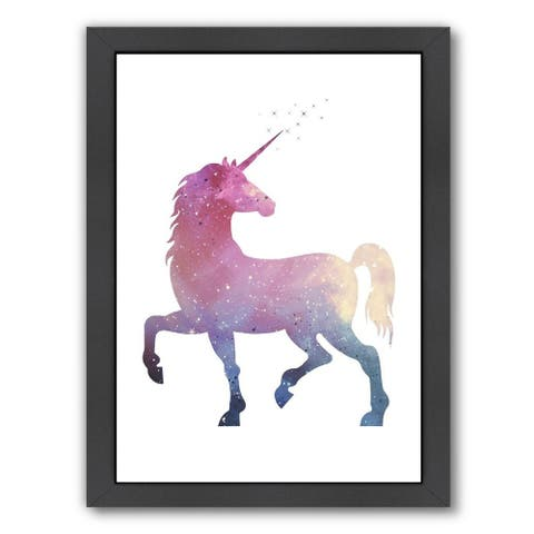 Multicolor Unicorn By Gold Design - Framed Print Wall Art