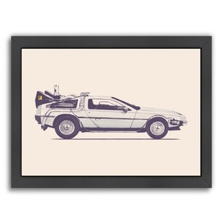Americanflat 'Delorean - Back To The Future' Black Wood-framed Giclee Print Wall Art
