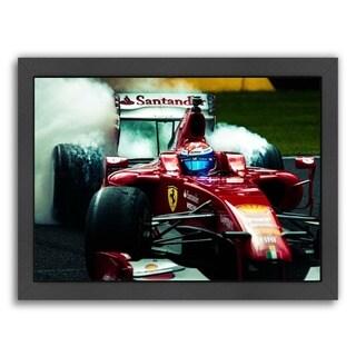 Americanflat Jayson Fong Design 'Red Ferrari' Framed Wall Art