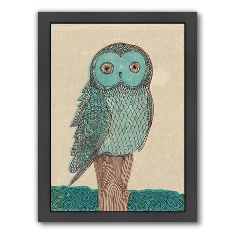 Americanflat 'Blue Owl' Black Wood-framed Wall Art