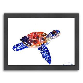Americanflat 'Sea Turtle Babe' Framed Wall Art
